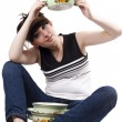 Stock Photo: The mad housewife with saucepan. funny p