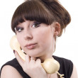 The mad housewife with phone. funny pict — Stock Photo