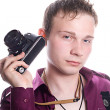 The young man with old camera. Isolated — Stock Photo