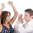 The dancing young beauty couple. Isolate — Stock Photo