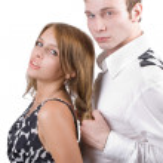 conflit du jeune couple. isolé sur blanc — Photo