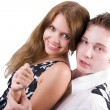 Stock Photo: Smiling beauty young couple. Isolated on