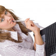 The young woman sits with the laptop. Is — Stock Photo #1158356