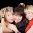 Portrait of the three playful young wome — Stock Photo