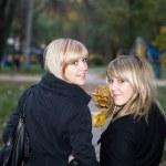 Retrato de las dos mujeres jóvenes en otoño — Foto de Stock