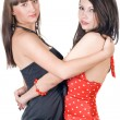 Two embracing beauty young women. Isolat — Stock Photo