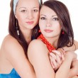 Two embracing beauty young women. Isolat — Stock Photo #1159257