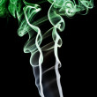 Abstract green smoke. Isolated on a blac — Stock Photo