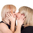 Two young beauty kissing blonde. Isolate — Stock Photo