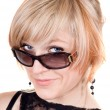 Portrait of  the blonde in sunglasses. I — Stock Photo