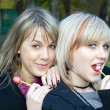 Stock Photo: Portrait of the two young women with sug