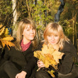 Two young women with autumn leaves in pa — Stock Photo