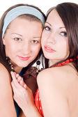 Portret dwóch młodych kobiet, uroda. isol — Zdjęcie stockowe