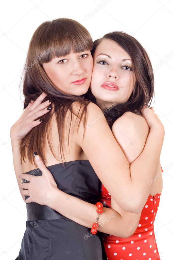 Two embracing beauty young women. Isolated on a white — Stok fotoğraf #1159219