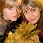 Retrato de la joven rubia dos con au — Foto de Stock