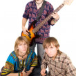 Musical band: the guitarist and two drum — Stock Photo