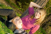 Two happy beauty young blonde outdoors — Stock Photo