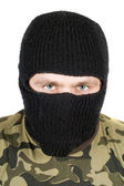 Portrait of the man in a black mask ove — Stock Photo