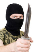 Portrait of the killer with a knife. Foc — Stock Photo