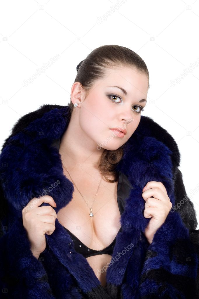 The young sexy woman in a fur coat  Stock Photo #1166402