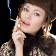 Portrait of the young lady with a cigare — Stock Photo