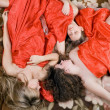 Three sleeping beautiful girls after a p — Foto de Stock