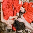Three sleeping beautiful girls after a p — Stockfoto