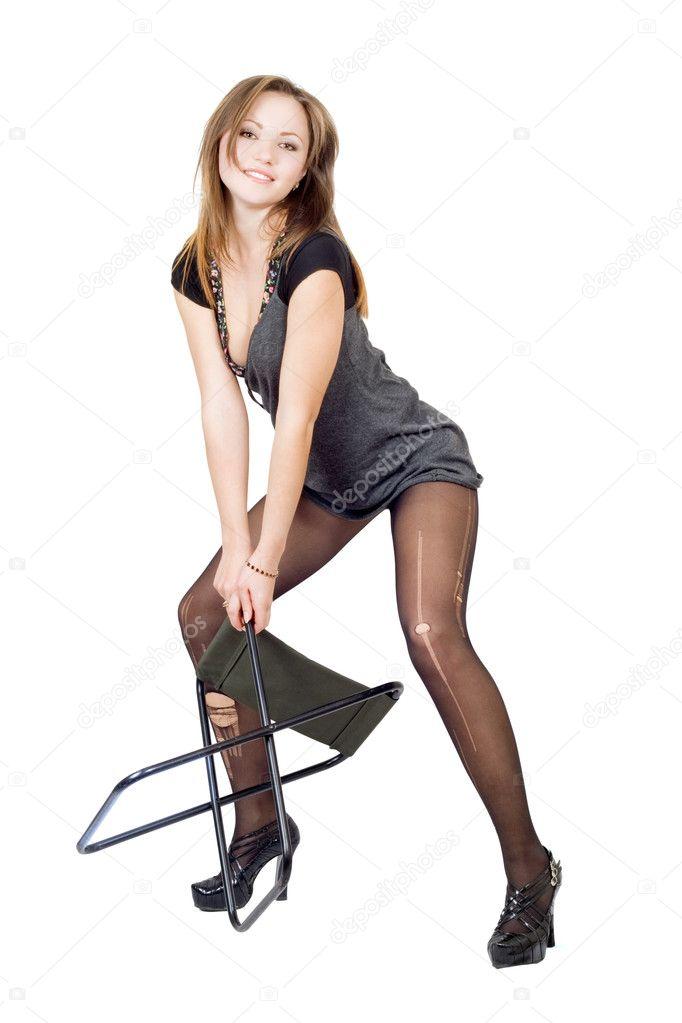 Женщины в чулках на стуле фото 91-201