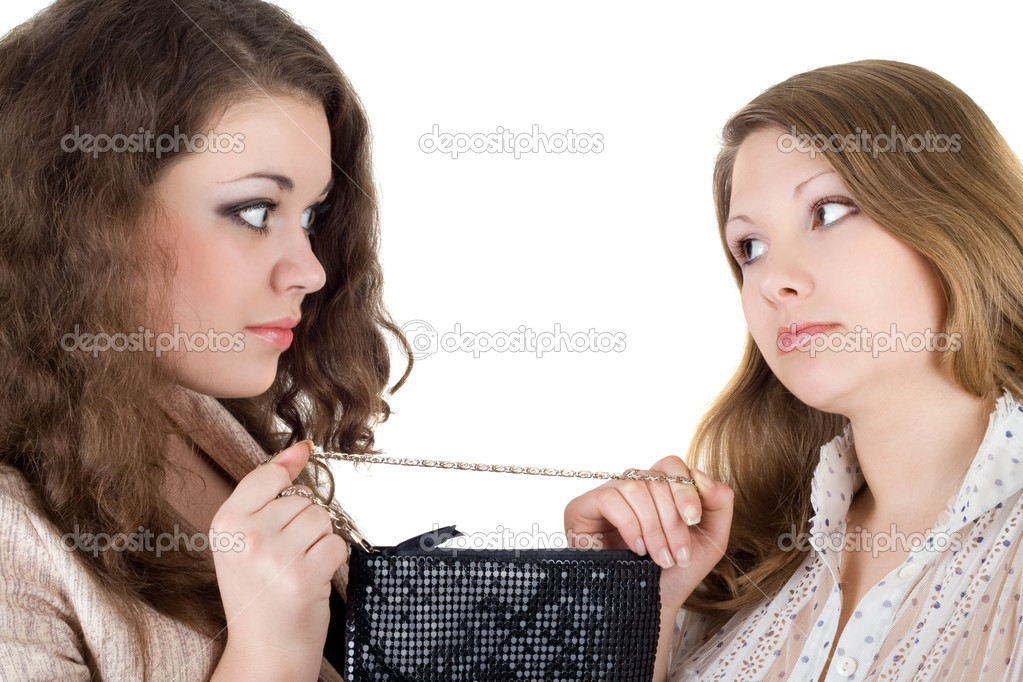 Two beautiful girls and one handbag. Isolated — Stock Photo #1209446