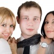 Portrait of the young man and two young — Stock Photo