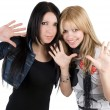 Young blonde and the brunette. Isolated - Stockfoto
