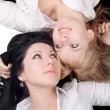 Portrait of the two lying lovely girls — Stock Photo #1211281