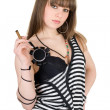 Girl in a striped dress with a cigar — Foto de Stock