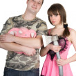 Foto Stock: Young man and the woman. Funny image