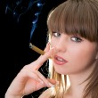 Portrait of the young woman with a cigar — Stock Photo