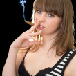 Portrait of the young woman with a cigar — Stockfoto #1212147