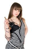 Bir puro ile çizgili elbiseli kız — Stok fotoğraf