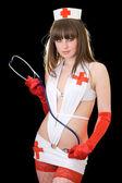 Sexy playful nurse with a stethoscope. I — Stock Photo