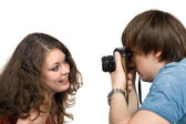 Fotógrafo tomando fotos de la youn — Foto de Stock