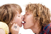 Portrait of the kissing young beauty cou — Stock Photo
