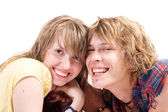 Portrait of smiling young beauty couple — Stock Photo