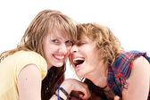 Portret van jonge schoonheid paar glimlachen — Stockfoto