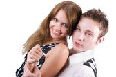 Smiling beauty young couple. Isolated on — Stock Photo
