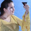 Playful girl with glass of wine. — Stock Photo