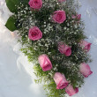 Bouquet of the bride from pink roses — Stok fotoğraf