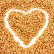 Stock Photo: Background is a dry pea and heart