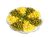 Green pea, yellow corn and corn lettuce — Stock Photo