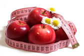 Apples, camomiles and centimetre. — 图库照片
