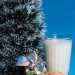 Milk, croissants, souvenir and the tree — Stock Photo