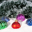 Royalty-Free Stock Photo: Beautiful,bright Christmas balls in snow